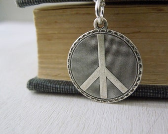 Peace Sign Necklace - Antiqued Silver Peace Symbol Charm Necklace Silver Chain