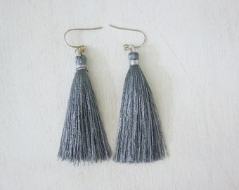 Grey Tassel Earrings - Grey Color Tassel Pendant Earrings Silver Fish Hook Earwires