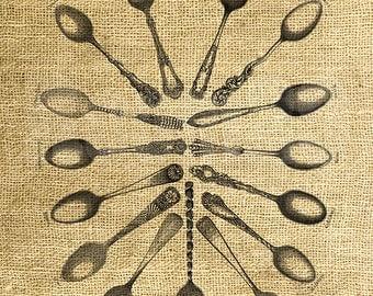 INSTANT DOWNLOAD - Vintage Spoons Illustration - Download and Print - Image Transfer - Digital Sheet by Room29 Sheet no. 1164