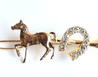 Vintage Gold Horse // Studded Horseshoe Brooch!