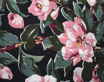 Vintage 1940s Curtain // Large 40s Barkcloth Curtain Panel with Pink Rose Floral Print on Black