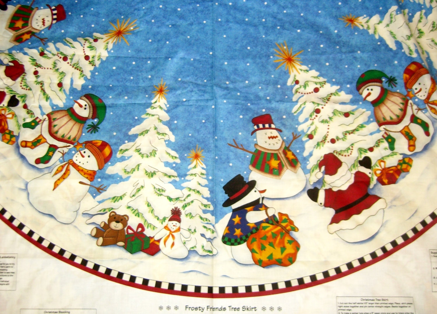 Christmas Fabric Panel Tree Skirt With Snowman Stocking Sewing