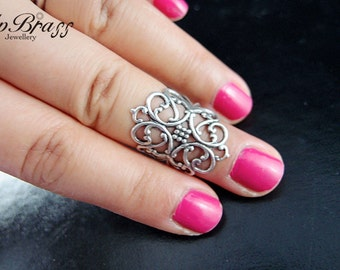 Aged sterling silver brass,Midi Ring,Knuckle Ring, Armor Ring,Statement Ring,Adjustable