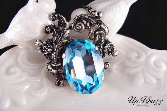 Anath--Swarovski oval X-large aqua blue crystal antique silver brass Victorian necklace