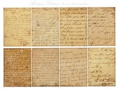 ANTIQUE 1800's HANDWRITTEN LETTERS - aceo atc trade cards - 8 3.5 x 2.5 inches  -Instant Download Digital Printable cards  - DiY