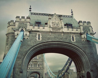 Tower Bridge in London England - Architectural Home Decor - Blue and Gray Wall Art - Travel Photography - Wanderlust - Fine Art Photograph