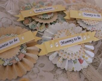 Baby shower rosette badges