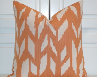 Orange Chevron - Decorative Pillow Cover - IKAT Zig Zag -  Cushion - Sofa Pillow - Accent Pillow - Square Or Lumbar