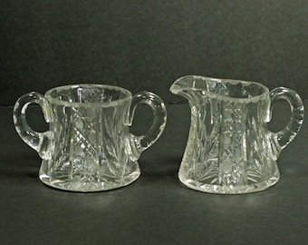 Vintage Cut Crystal Sugar and Creamer
