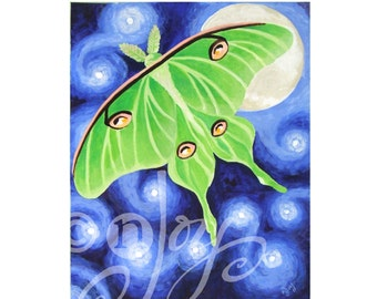 Whimsical Art, BELLA LUNA, 11x14 Canvas, Moth Painting, Butterfly Art for Nursery