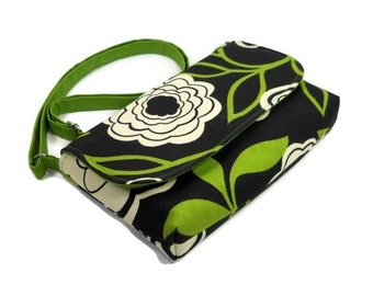 Small Canvas Cross Body Bag, Mini Purse, Fabric Bag, Floral Pocketbook, Avocado Green and Ivory Floral on Black, Small Crossbody Bag