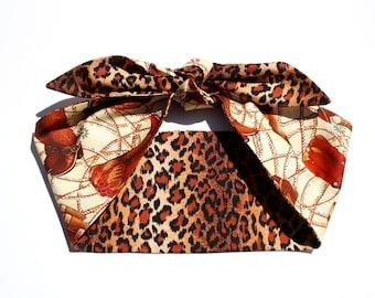 Vintage Inspired Head Scarf, Boots, Leopard Print, Rockabilly Gal