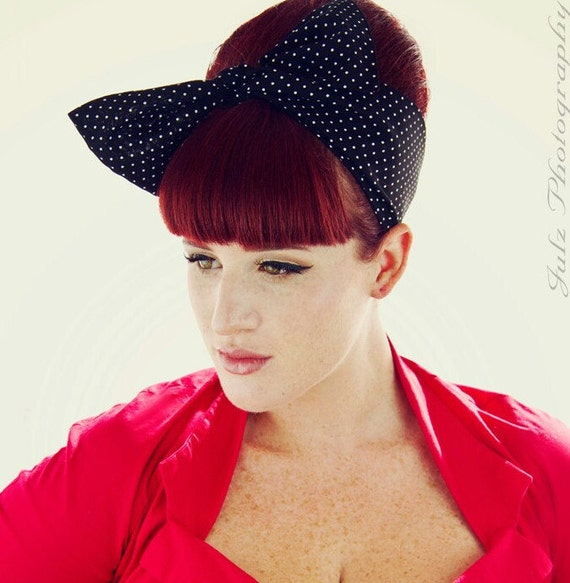 Vintage Inspired Head Scarf, Bow or Bandanna Style, Black with POLKA dots, Rockabilly, Retro, 1940s,1950s