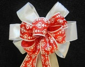 Valentine Bow White hearts printed  on a red ribbon  White shimmering ribbon on the bottom