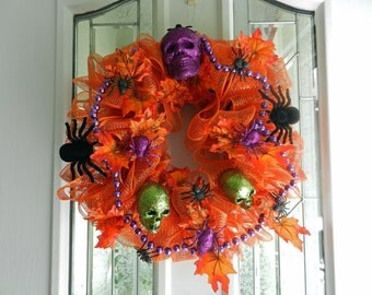 Orange Mesh Halloween Wreath skulls, leaves, spiders