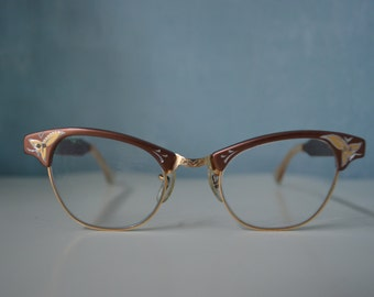 New Old Stock  Unique Cat Eye Small Flowers Brown Prescription Glasses