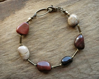 Rustic Red Stone Bracelet, rustic Bohemian pebble jewelry with brick red spotted chalcedony and golden brass