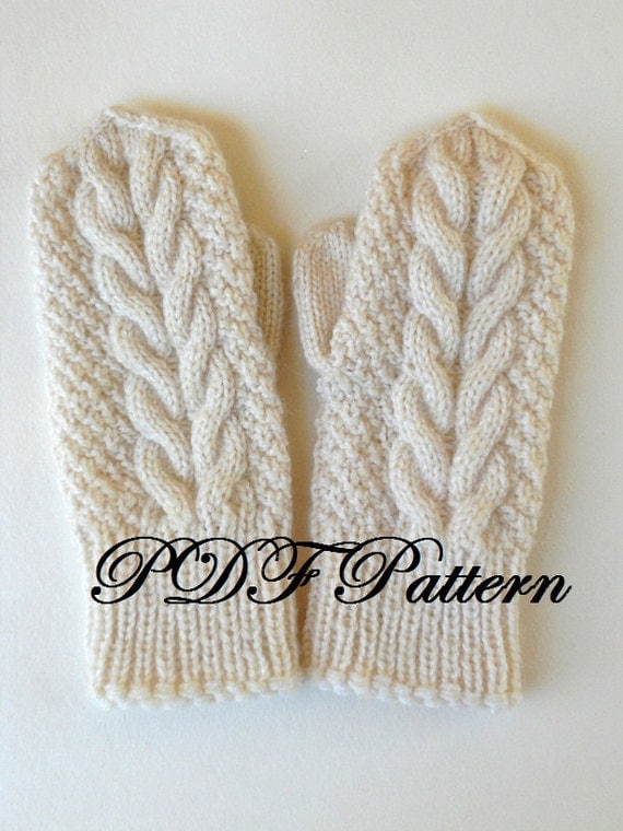 PDF mitten pattern knit cabled mittens tutorial winter wool unisex gloves Instant Download PDF file