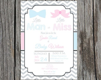 Gender Reveal Party Invitation - Printable- DIY - Customized - LIttle Man or Little Miss