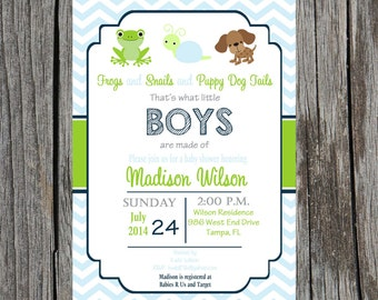 Frogs, snails and puppy dog tails  Baby Shower Invitation what little boys are made of shower, baby boy shower, DIY invitation