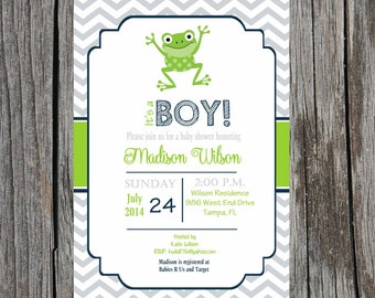 Printed Frogs Baby Shower Invitation, baby boy shower, boy shower, frog baby shower