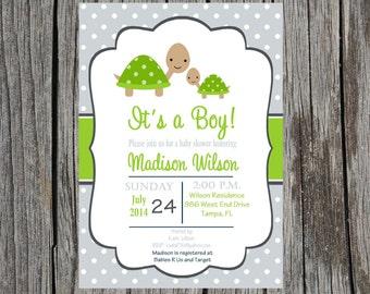 Turtle Baby Shower Invitation, turtles invitation, baby boy shower, custom, digital invitation, printable