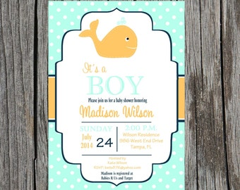 Printed Whale Baby Shower Invitation, nautical baby shower, whales, baby boy shower, whales, boy