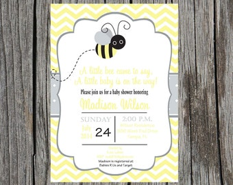 Printed bumble bee baby shower Invitation, bee baby shower invitation, Printed set of invitations, gender neutral invitations