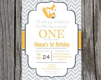 Printed Forest Animals birthday invitation, Fox birthday invitation, custom and printable, fox birthday
