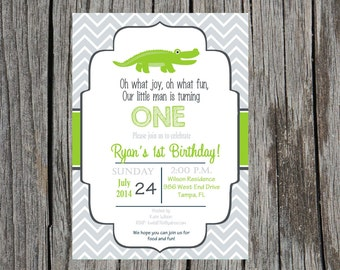 Alligator birthday party Invitation, alligator invitation, gator birthday party, custom and printable