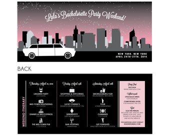 New York City Bachelorette Party Invitation and Itinerary - DIY Printable or Printed - Sexy in the City #00040-PI10