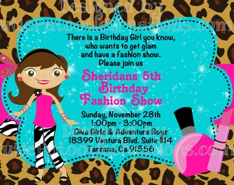 Fashion Show Birthday Invitation, Fashion Runway Party Invitations, Glamour Girl Invitation, Printable or Printed
