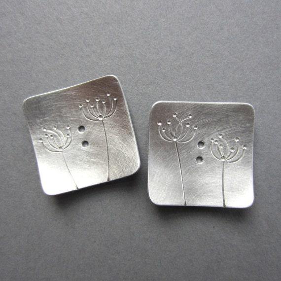 Dandelions Button Set silvertone metal square 1 inch artisan handmade queen annes lace