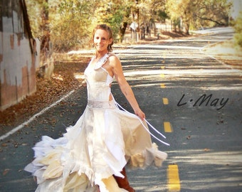 shabby chic boho artistic wedding gown (custom orders only)
