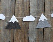Mountain Garland, Wall Decor, Mountain and Cloud, Bunting, Mountain Decor, Grey Gray Garland, Ski Decor, Garland, Mountain Art, Mountains