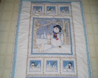 Snowman Flannel Blanket with Bunnies, Birds, Squirrel - Crib Size Flannel Backing Batting in the Middle