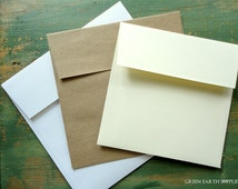 "25 Square Envelopes, 5"", 5.25"", 5.5"" or 5.75"" (127, 133, 140, or 146mm) kraft brown, bright white or ivory, recycled envelopes, sticker flap"
