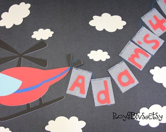 Flying Helicopter - Birthday Banner - Personalized