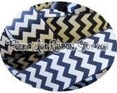 "Navy Chevron Ribbon 5 yards- Your size choice 3/8"", 7/8"", or 1.5""  zig zag printed grosgrain ribbon- hair bow craft ribbon craft trim"