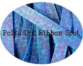 New Wonkie Swirls Glitter Grograin ribbon 5 yards- 3/8 inch Turquoise/Grape Sparkle Swirls hair bow craft trim ribbon