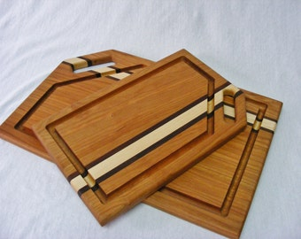 Cutting Board Side Handle with Groove Gift Set. Maple or Cherry.  Free Shipping