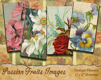 Victorian Flowers Domino Tile Digital Collage Sheet-- Instant Download