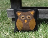 Odus Owl - Primitive Owl Pillow - Wool Owl Pillow