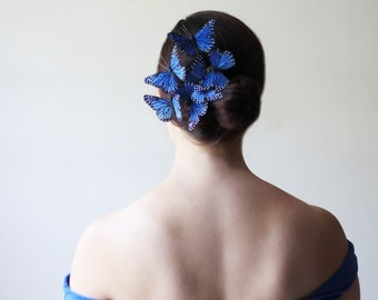 Blue Butterfly Barrette - cobalt, wedding accessory, bridesmaid