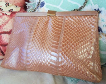 70s PALIZZIO--Peach Snakeskin--Metallic--Clutch or Shoulder Bag--Chain