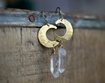 Quartz Crystal, Crescent Moon Earring, Crystal Jewelry, Boho Jewelry,