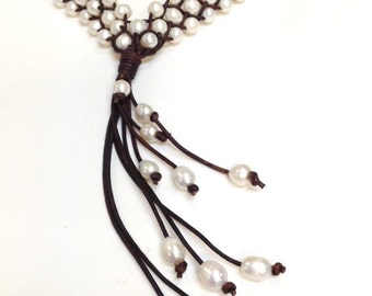 Leather and Pearl Necklace - MakKi (g36g50g65)