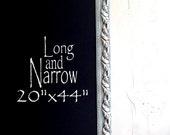 """Long FRAMED CHALKBOARD Narrow Kitchen Chalkboard Chalk Board Decorative Chalkboard 20""""x44"""" Blue Magnetic Bulletin Board Artwork Organizer"""