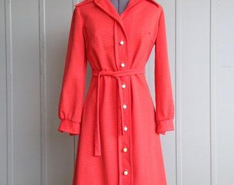 Vintage 1960's Red-Orange Mod Button Down Long Sleeve Dress Size Medium/Large M/L
