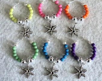Wine Glass Charm, Wine Glass Marker, Rainbow, Snowflakes, Winery Gift, Party Accessory, Housewarming Gift - Set of 6 - RAINBOW SNOWFLAKES